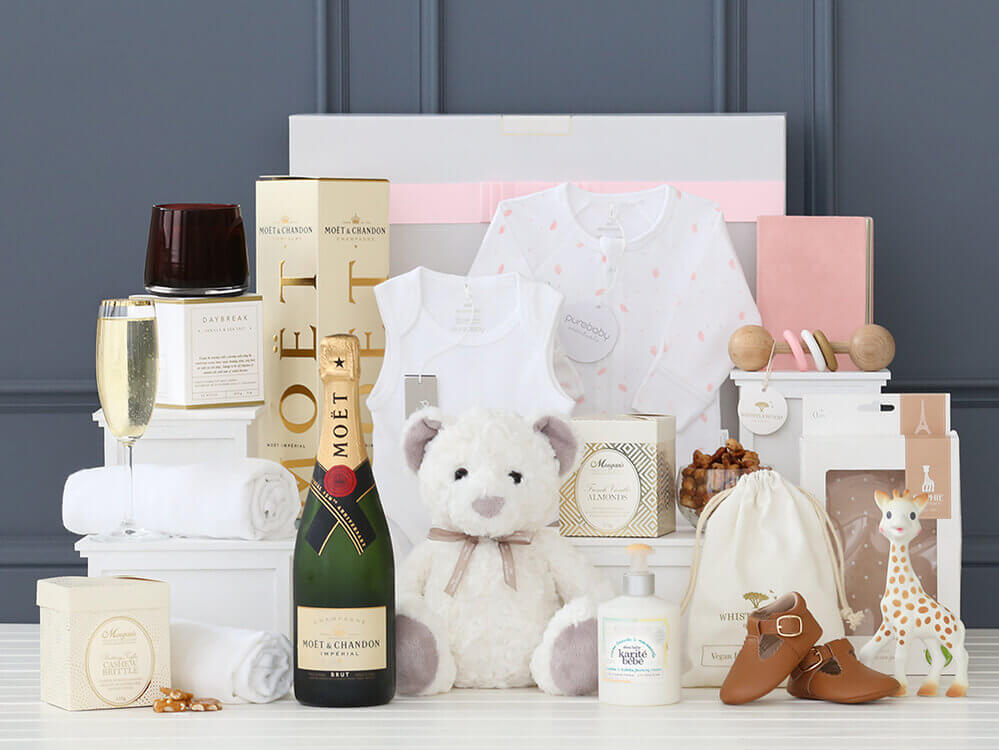 Iconic Baby Girl Essentials Hamper with Moët
