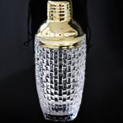 Textured Glass & Gold Cocktail Shaker