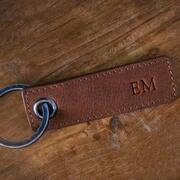 Personalised Rectangle Leather Keyring Tan
